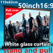 50 inch 16:9 White glass curtain Pull Up standing projector Screen Portable Floor Stand Screen for dlp led hd mini projector