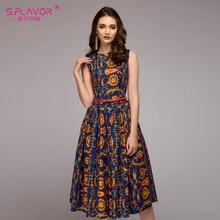 aa079d4b6e8 S. вкус Для женщин инди-фолк-Стиль печати летнее платье 2018 сезон   весна–лето без рукавов с круглым вырезом драпированные плать.