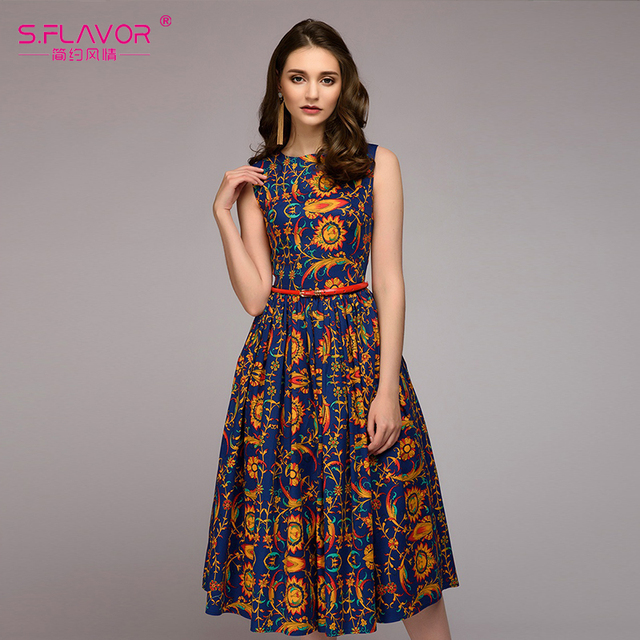 a6ad425b43c8 S.FLAVOR Women Indie Folk Style printing summer dress 2018 Spring Summer  sleeveless O-neck Draped vestidos Elegant dress NO BELT