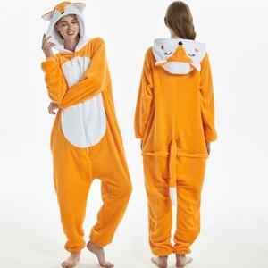 Image 2 - Las mujeres de conjuntos de pijamas de franela de zorro animal carácter animado mono de las mujeres de invierno unicornio camisón Pijamas ropa de dormir Homewear