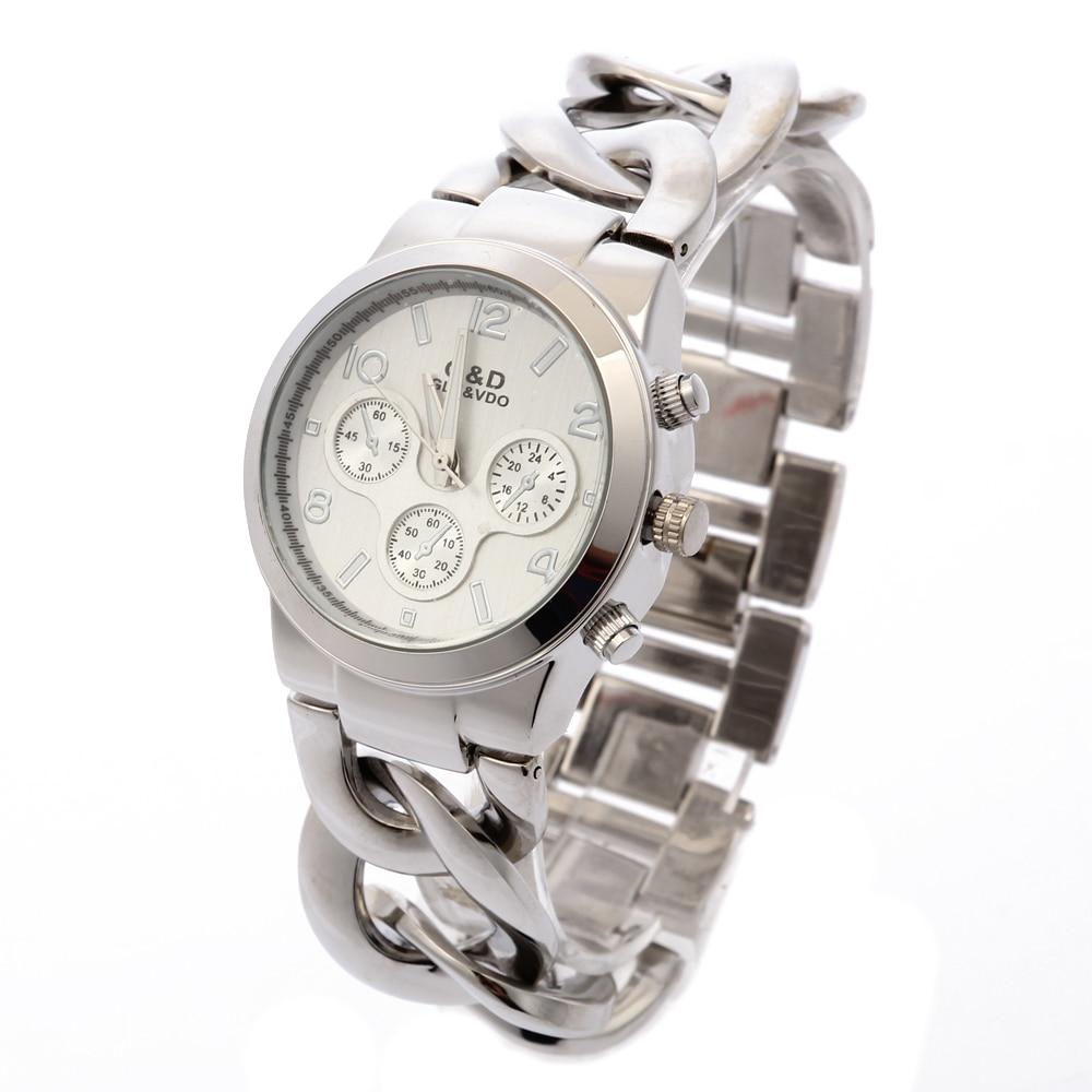 2018 Նոր G&D արծաթե կանանց քվարցային ժամացույցներ չժանգոտվող պողպատից կանանց զգեստ Ժամացույց Reloj Mujer ժամացույցի նվերներ Relogio Feminino