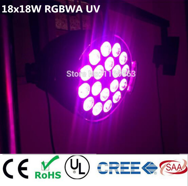 dj lighting 18x18w rgbwa uv 6in1 led par light  DMX light