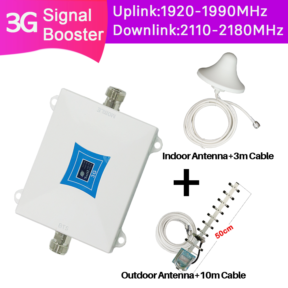ZQTMAX 3G Repeater 2100 Internet Signal Amplifier WCDMA Cell Phone Signal Booster UMTS 2100MHz Cellular Amplifier + Yagi Antenna