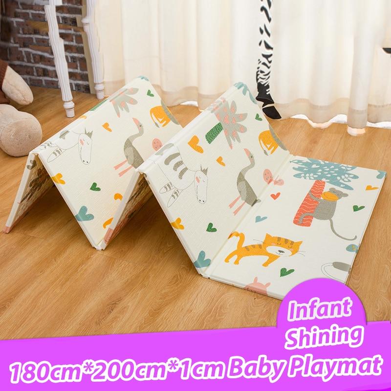 Детские блестящие 180*200*1 см складной детский игровой коврик экологичный XPE дети Playat Cartton нескользящий ковер Гостиная Коврик