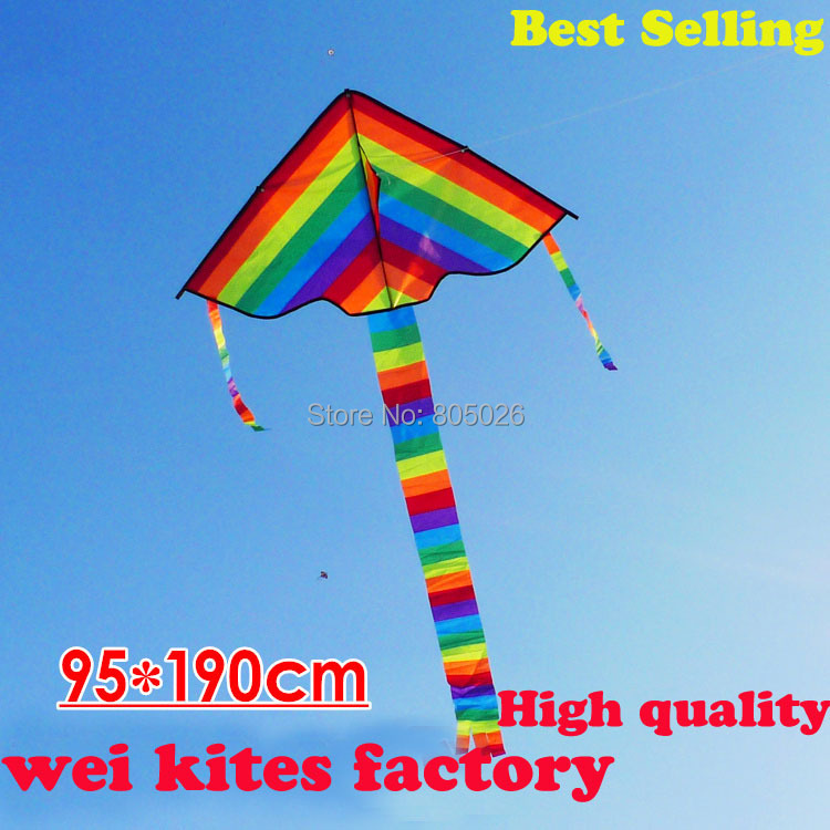 Free Shipping high quality rainbow kite 2pcs/lot with flying tools Outdoor Fun Sports kite Factory Child Triangle Color Kite