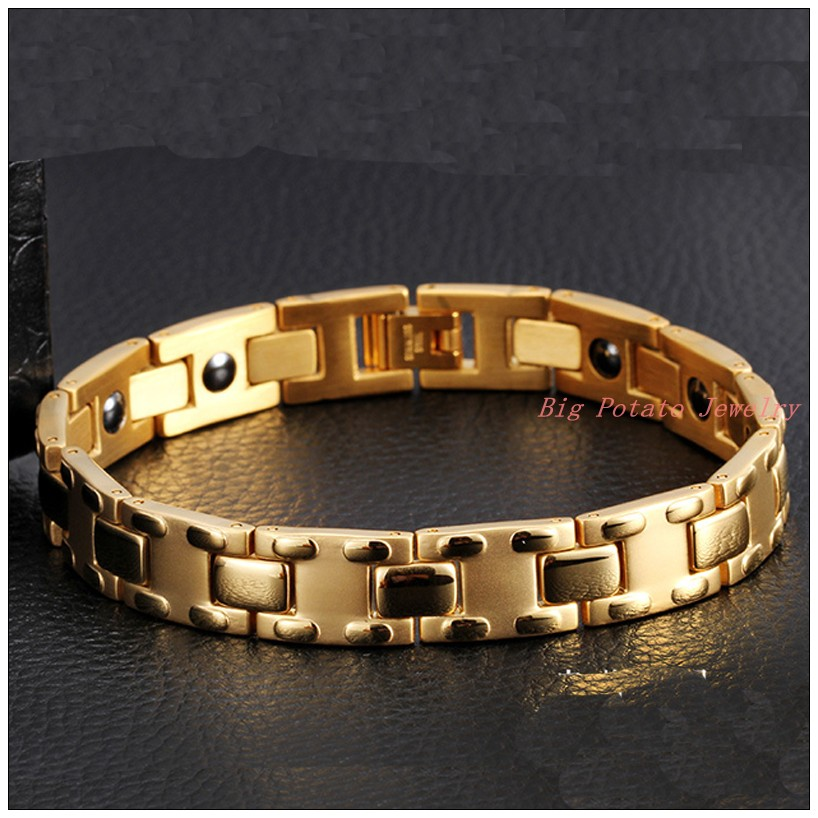 8 86 11mm 18g New Fashion 316L Stainless Steel 18K Gold Plated Mens Boys font b
