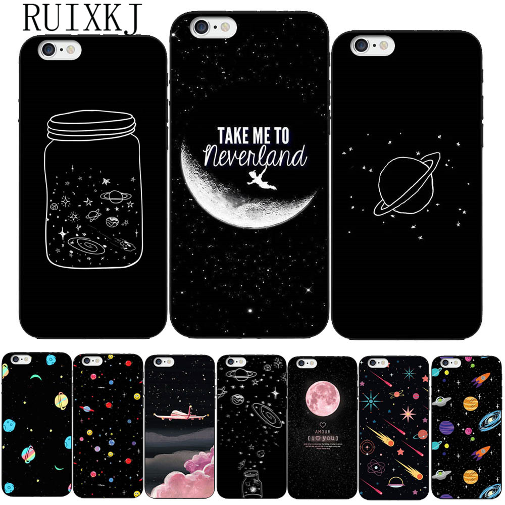 RUIXKJ Universe Series Phone Case For iphone X Case For iphone 6 6S 7 8 Plus 5S SE Fashion Cover Cute Planet Moon Star Cases iPhone