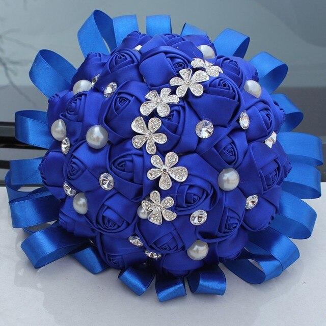 2017 Ramo De La Boda Barato Azul de Lujo Bling de la Chispa de La Boda Flores Ramos de Novia ramo Artificial de matrimonio