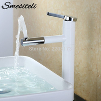 Smesiteli Basin Faucets White Bathroom Faucet Modern Style 100% Copper Bathroom Sink Tap Mixer with 360 Degree Swivel Spout