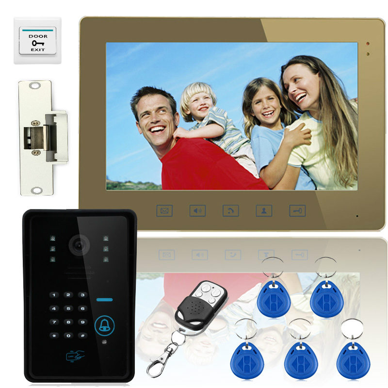 YobangSecurity 10 Video Door Phone Doorbell Bell Intercom Touch Key System Video Camera With Code Keypad Lock Remote Door Lock