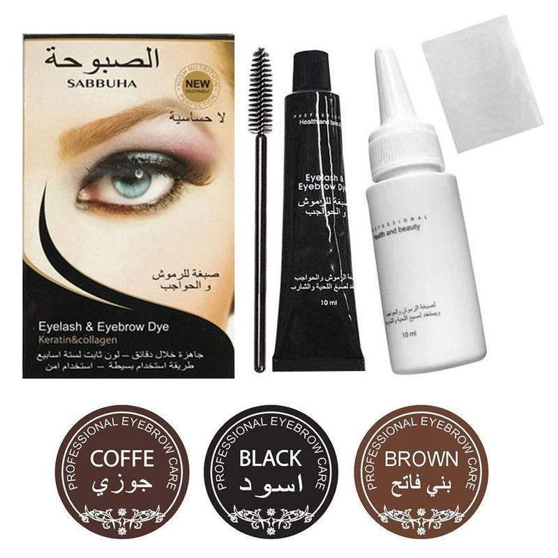 Eyelashes Eyebrow Beard Mustache Hair Dye Paste Tint Kit Professional Permanent Mascara Brow Lashes Comb Brush Set Cosmetic