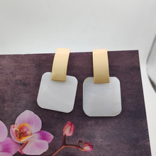 Minimalist Square Pendant Earrings Womens Gift Jewelry Big Natural Shell for Women Luxury P841