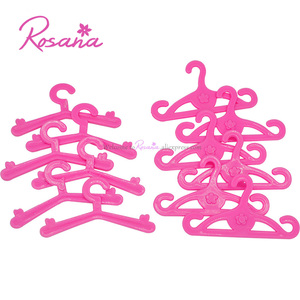 Rosana 12 Pcs Pink Plastic Hangers for Barbie Dolls Dress Clothes Gown Doll Clothing Accessories Play House Party Toys Gift