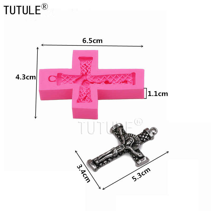 cupcake topper 0629 Jesus Christ on Cross Crucifix Cabochon Decoden Rosary Silicone Rubber Flexible Food Safe Mold Mould- resin wax candy
