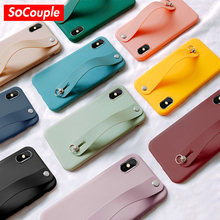 SoCouple Soft Silicone Phone Holder Case For iphone XR X Xs max Case For iphone 7 8 6 6s plus Solid Color Wrist Strap Back Cover(China)