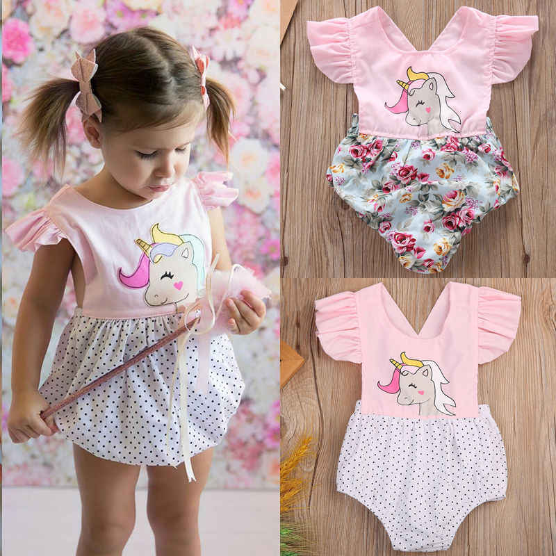 111c14c90fec Detail Feedback Questions about Lovely Newborn Baby Girls Floral Unicorn  Romper Jumpsuit Outfits Set b on Aliexpress.com