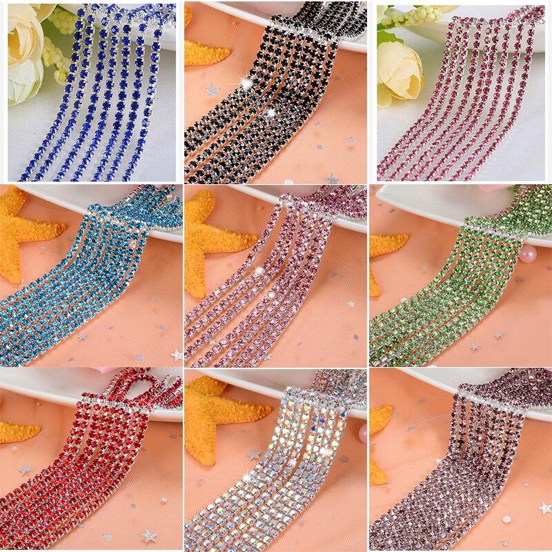 1 jarda/peça 30 cores de cristal cristal strass corrente, fundo prata costurar em cadeias de copo para diy vestuário sacos decorações