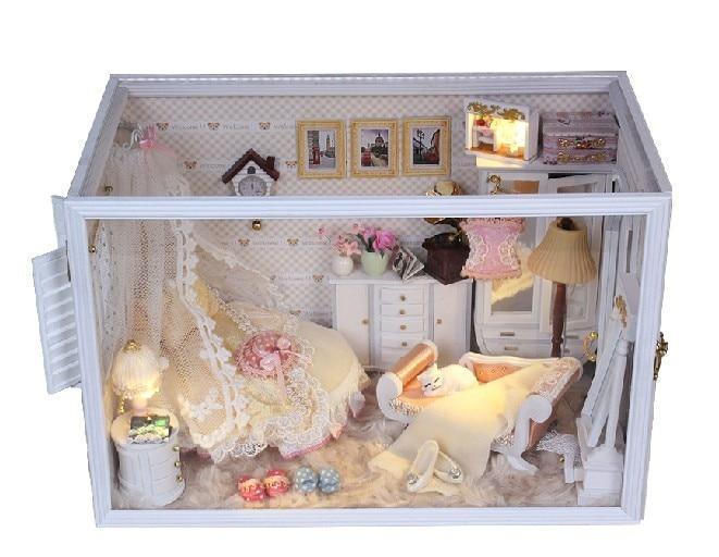 Diy Led Light Transparent Box Dollhouse Miniatures Room