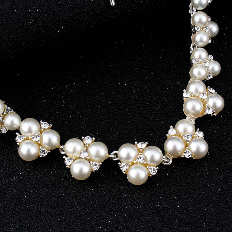 jiayijiaduo Bridal Wedding set silver-color Jewelry Sets for women Simple Imitation Pearl Jewelry Crystal Necklace earring  Sets