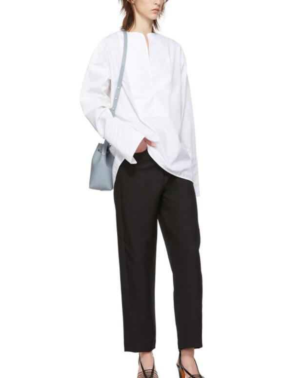 Millay smoking bluse Weiß übergroßen TOP V ausschnitt cut dropped schultern langen ärmeln offenen manschetten FRAU NEUE-in Blusen & Hemden aus Damenbekleidung bei  Gruppe 3
