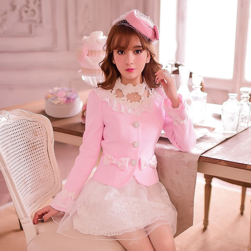 Princess sweet lolita coat Candy rain Autumn hollow out sweet pink white bow pearl botton Nail bead Short coat C15CD5864 ...
