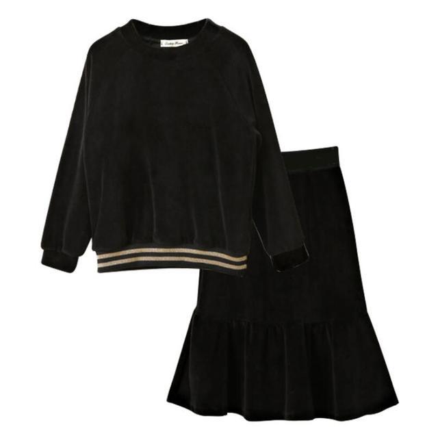 5a7c0cdfe Kids Toddler Teenager Girls Black Velour Long Sleeve Shirts+Skirt 2 Pieces  Set Velvet Child Clothes 4 6 8 10 12 14 Years JW4178