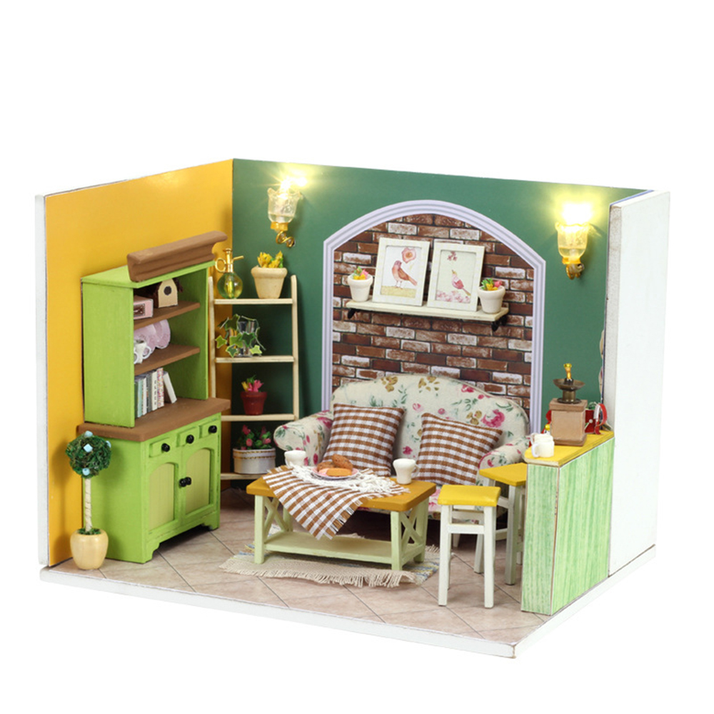 DIY Miniature Room Wooden Doll House Green Island Afternoon tea with Furniture LED Lights Dust Cover Dollhouse Toys for Children