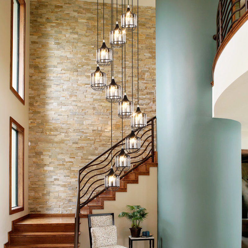 Industrial wrought iron staircase pendant lamp Nordic Duplex teahouse living room dining room crystal pendant lamps mx5301130Industrial wrought iron staircase pendant lamp Nordic Duplex teahouse living room dining room crystal pendant lamps mx5301130