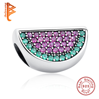 CZ Pave Watermelon Beads Fits Pandora Bracelets 2016 Summer Original 925 Sterling Silver Nature Charms For