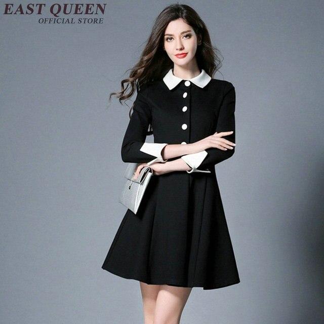 f55de504a56128 Sommer frau schwarz kleid mit weißen kragen hülse mit drei vierteln taste  vorne kleid frauen business