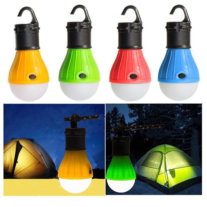 Waterproof Hanging Hook Flashlight For Camping 4 Colors Use 3*AAA Mini Portable Lantern Tent Light LED Bulb Emergency Lamp