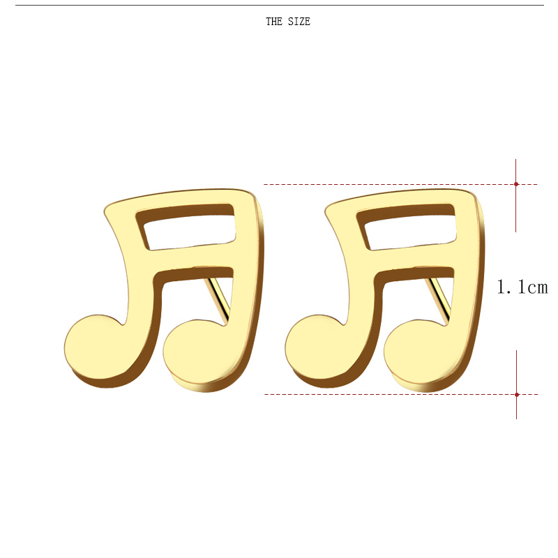 Cacana Stainless Steel Stud Earring Musical Notes Gold And Silver 003