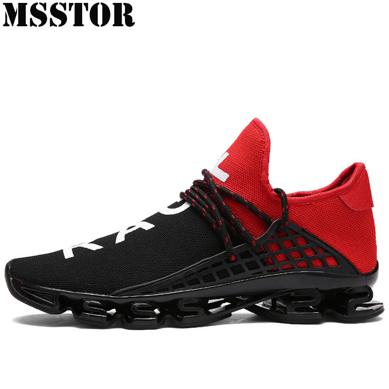 MSSTOR Spring 2018 Breathable Knitting Lovers Running Shoes Brand Women's Sneakers Outdoor Athletic Sport Shoes Large Size 36-48 2017brand sport mesh men running shoes athletic sneakers air breath increased within zapatillas deportivas trainers couple shoes