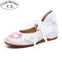 Vintage Embroidery Shoe Laces Elegant Plum Flower Embroidered Women Shoes Soft Sole Comfort Ballet Latin Dancing