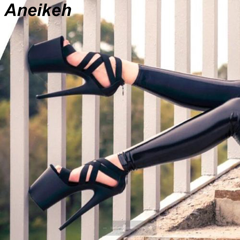17CM High Heels Thick Sandals Fish Mouth Waterproof High Catwalk Shoes ZYW-679-5,Black,38
