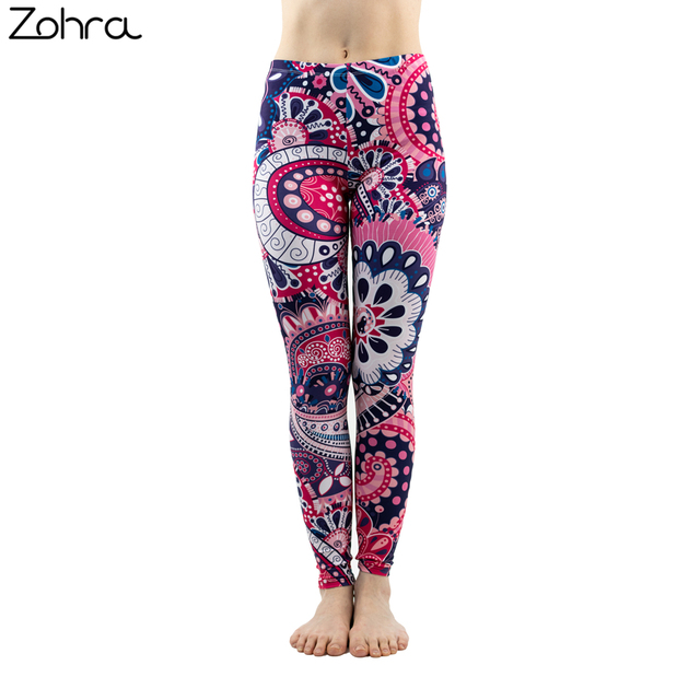 ac2041b042 Zohra Fashion Women Mandala Purple Printing Sexy Leggings Workout Bottoms Stretch  Slim Fitness Pants