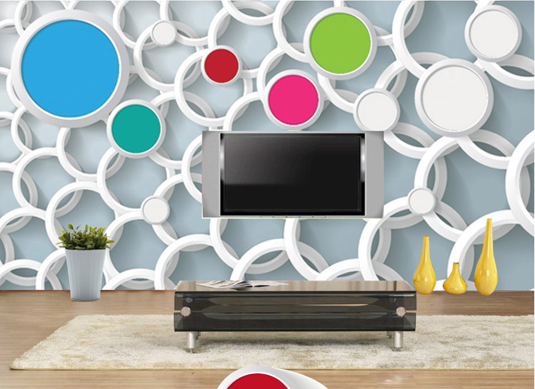 Custom 3D wallpaper large murals personalized fabric wall paper bedroom living room TV sofa backdrop black circle colorful gray