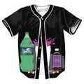 Bebiendo sudor camisa tops de Verano con botones Que se Inclinan Jersey 3d Hip Hop Streetwear hombres camisetas tops tees overshirt
