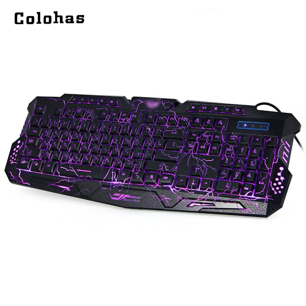 English Russian Bilingual Mechanical Feel Gaming Keyboard 3 color Switchable LED Backlit USB Wired Game Keypad for PC Laptop russian english game keyboard usb wired rgb backlit keyboard 3 color switchable led light for laptop computer gamer