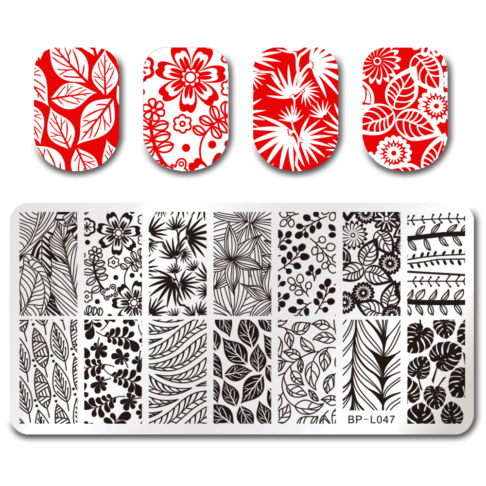 Nail Cake Born Pretty Store Review: BORN PRETTY 12*6cm Rectangle Nail Stamping Template Leaf