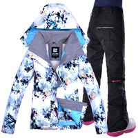 GSOU лыжный костюм Для женщин Бесплатная доставка ветрозащитный дышащий Водонепроницаемый Для женщин куртка для снежной погоды + штаны тепла