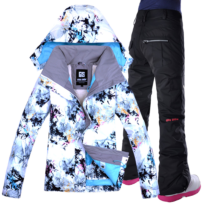 GSOU combinaison de ski de neige femmes livraison gratuite coupe-vent respirant imperméable femmes veste de neige + pantalon vêtements chauds ensemble nouveau hiver