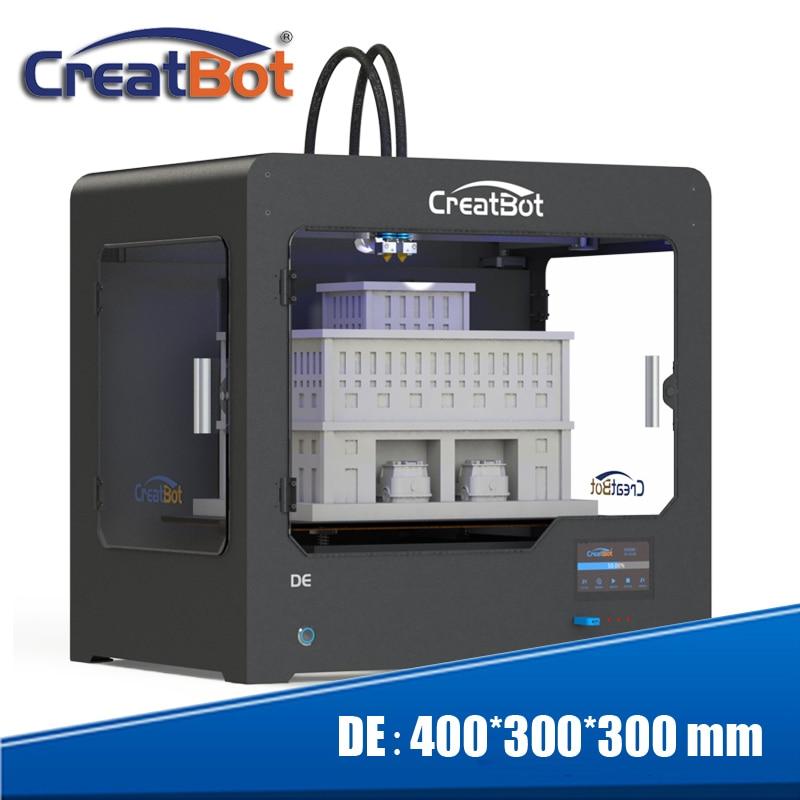 ¡Conjunto de descuento! Impresora 3D Creatbot 400 * 300 * 300 mm Súper extrusoras duales de gran tamaño DE02 + filamento 4KG + 4 boquillas + 3 cintas