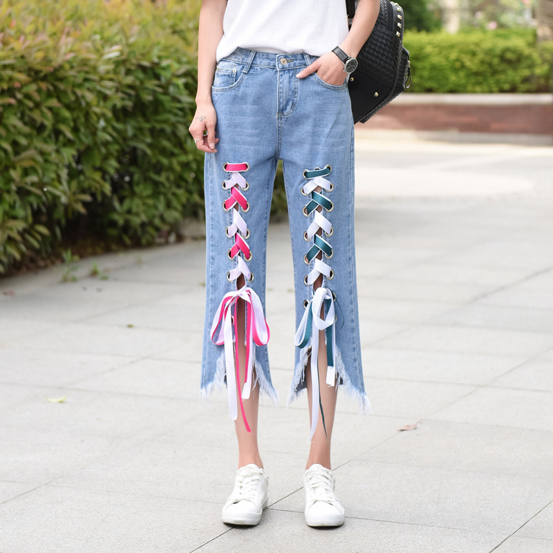 Summer Female Korean Mid Waist Loose Straps Lace Up Irregular Moustache Effect Jeans Denim Pants Women Fashion Trousers MZ1727 wangcangli jeans women shorts light blue large size denim fat sister elastic waist mid waist jeans moustache effect summer 4xl
