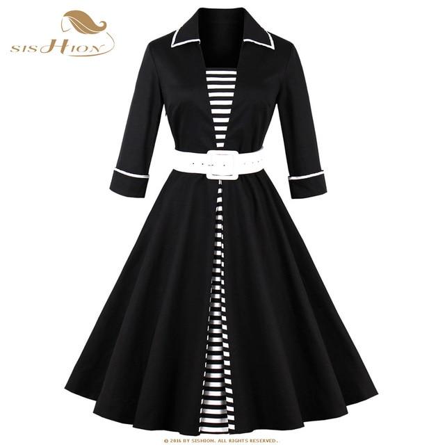 Sishion Women Dress Patchwork Striped Black A Line Mid Calf Sashes
