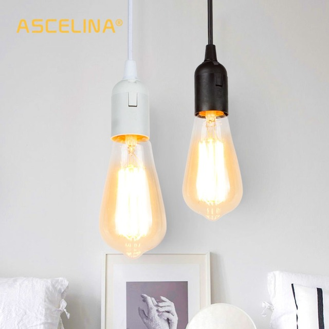 ASCELINA Simple E27 LED Bulb Chandelier Pendant Lamp Holder Pendant Light Fixtures DIY Home Decoration Black & white