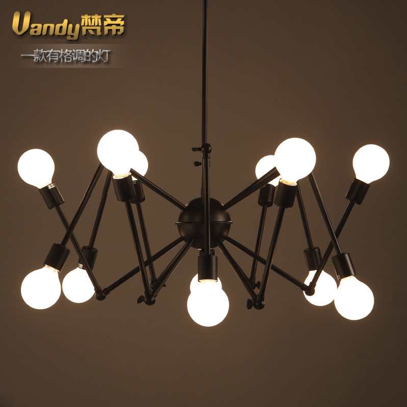 8/16 Heads Modern Retro Matal Pendant Lamp Spider Decoration Foldable Arms Bar Light  Parlor Light High Quality Free Shipping modern american personality lamp spider extendable light pendant scalable lamp home office bar decoration light lamp