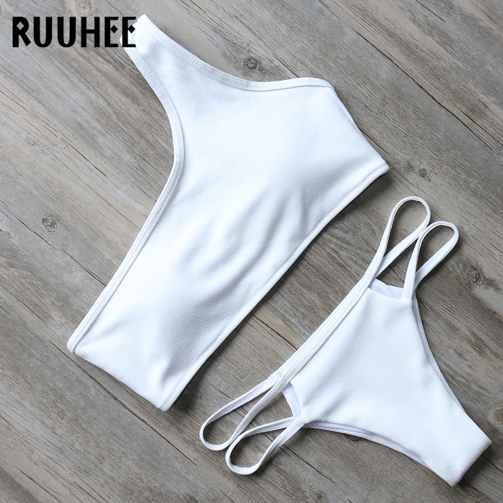 RUUHEE Bikini Swimwear Women Swimsuit One Shoulder Bikini Set 2018 Push Up Bathing Suit Female Beachwear Sexy Swimsuit With Pad