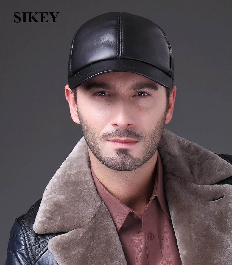 HL037 MAN Cowhide leather men s golf hat leather casual baseball cap ... cd601c5ff784