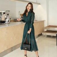 2019 Spring Vintage Women dress Full Sleeve Slim Lace Tail Dresses Dark Green Rice White 8065
